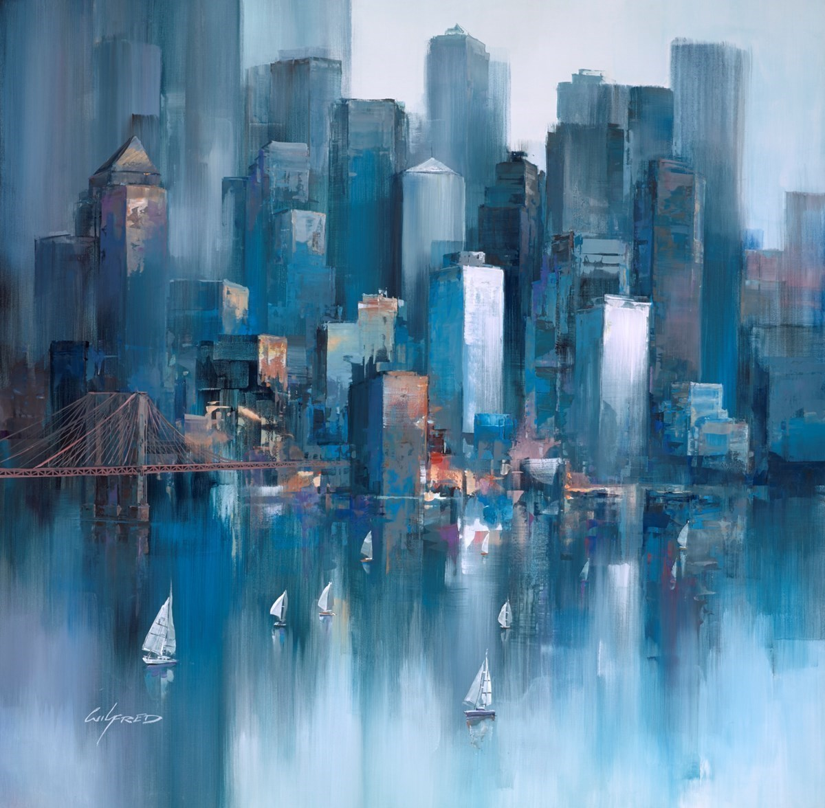 Into the City III by Wilfred -  sized 38x38 inches. Available from Whitewall Galleries